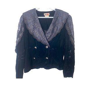 Vintage 80s Velour & Lace Cropped Jacket Black L